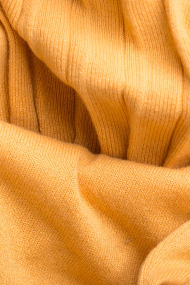 Robe plissée en tricot de laine et cachemire Ochre Argo by Andreea Buga image 4