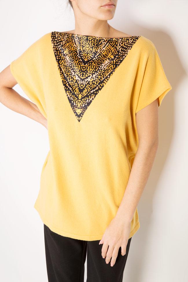 Nets silk paneled cashmere wool-blend sweater Argo by Andreea Buga image 3