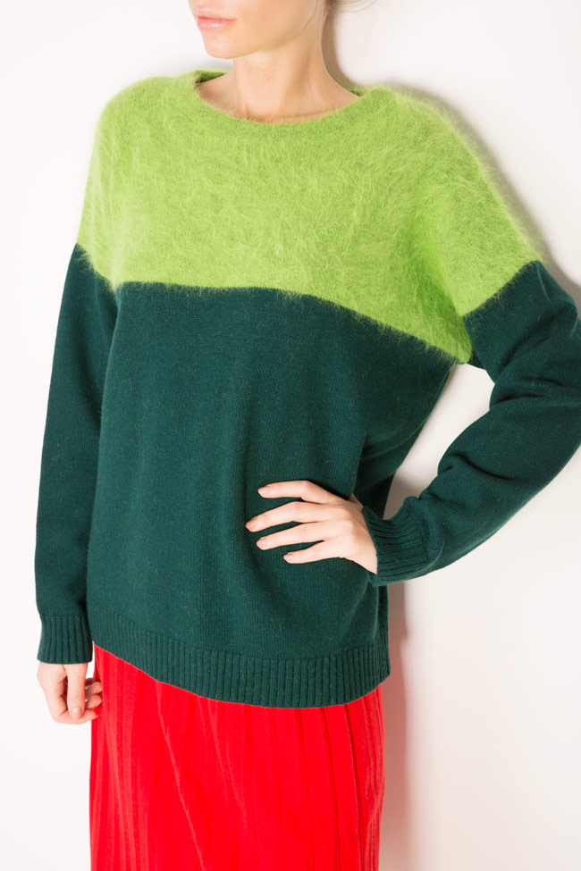 Green Mix angora cashmere wool top Argo by Andreea Buga image 3