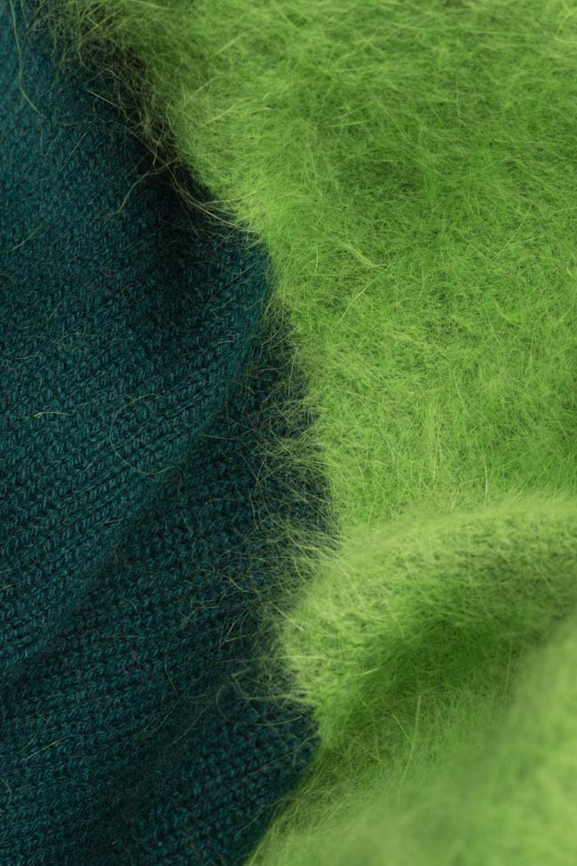 Pulover din lana casmir si angora Green Mix Argo by Andreea Buga imagine 4