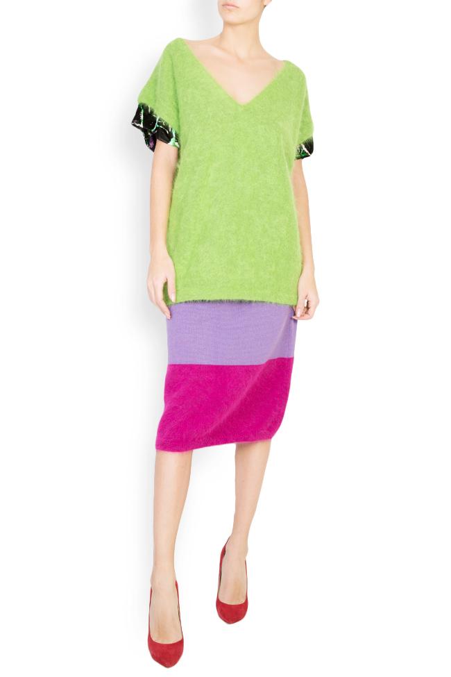 Green Bean angora wool silk velvet trimmed top Argo by Andreea Buga image 0