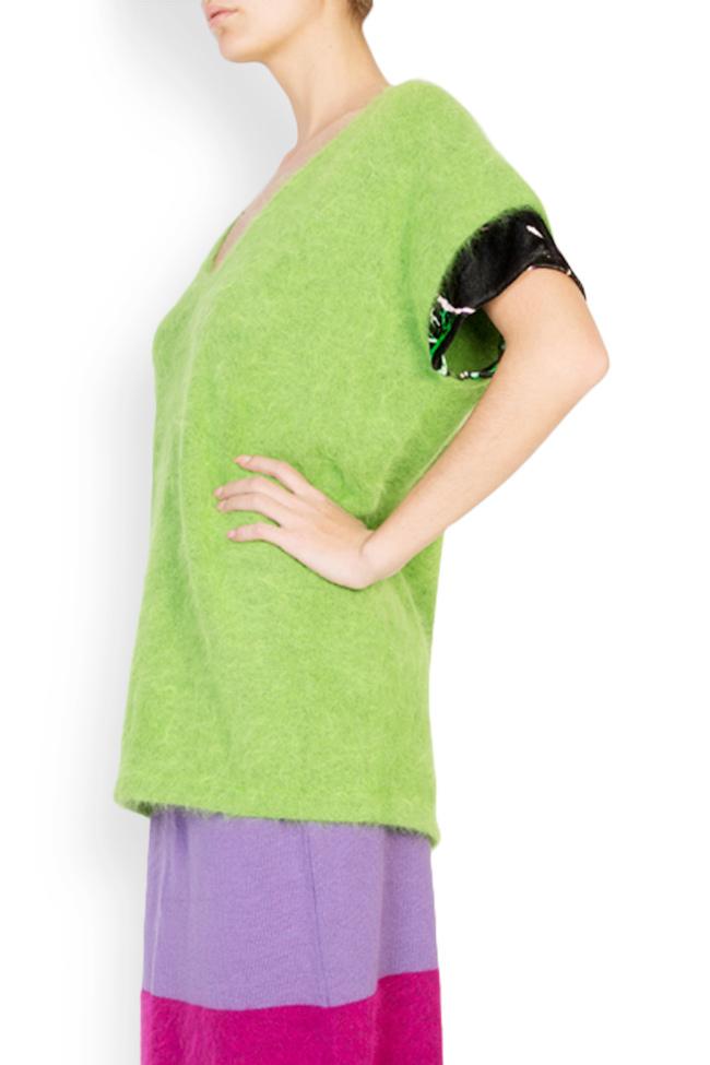 Green Bean angora wool silk velvet trimmed top Argo by Andreea Buga image 1
