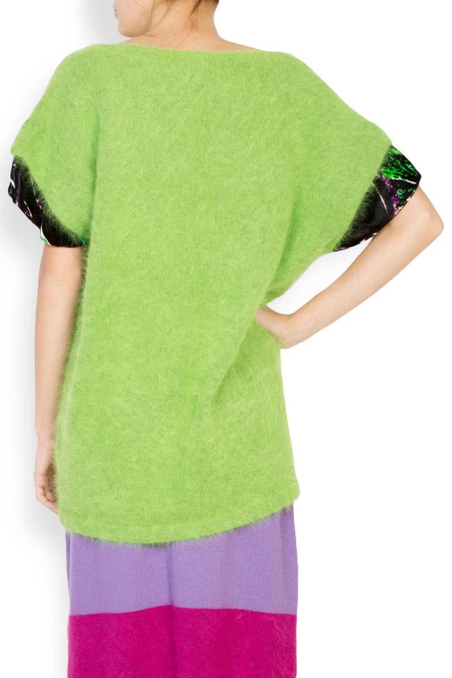 Green Bean angora wool silk velvet trimmed top Argo by Andreea Buga image 2