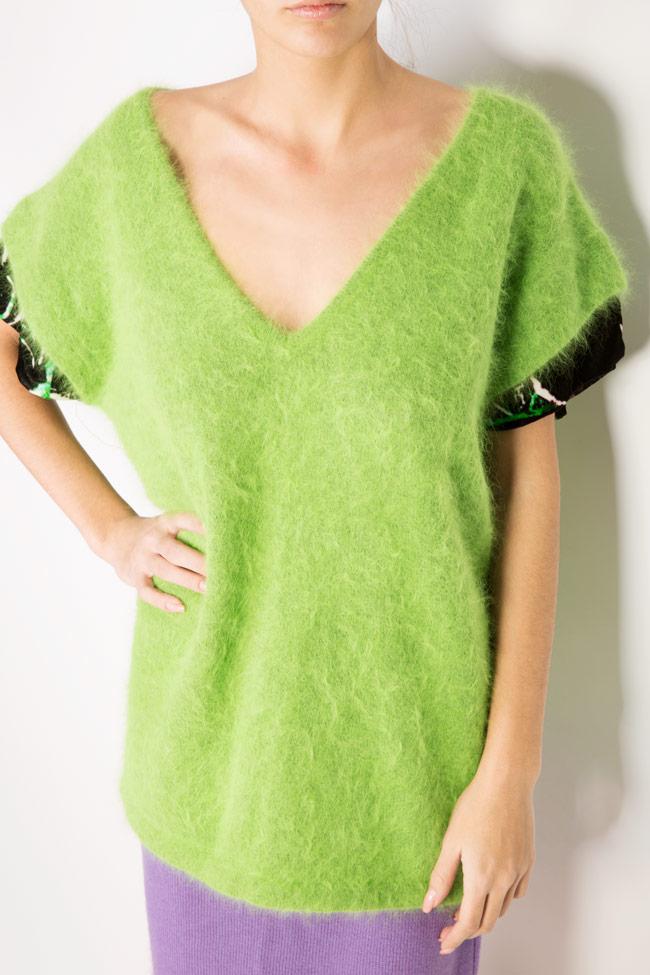 Green Bean angora wool silk velvet trimmed top Argo by Andreea Buga image 3