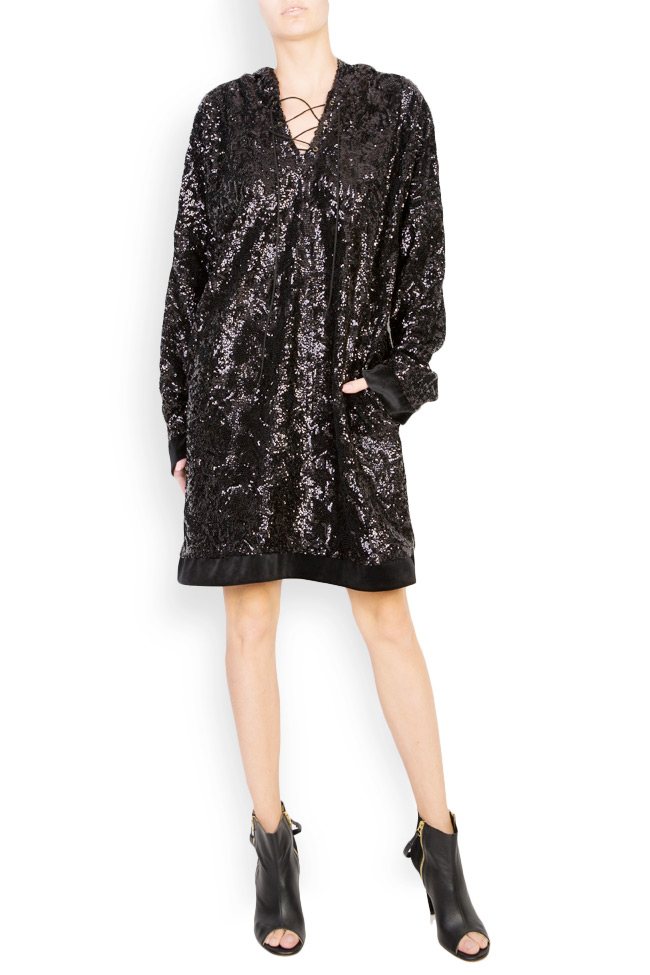 Robe type sweat en velours orné de sequins Bluzat Cocktail image 0