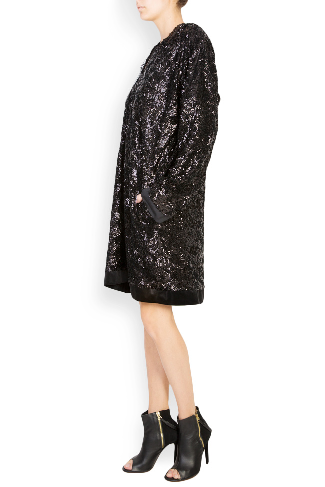 Robe type sweat en velours orné de sequins Bluzat Cocktail image 1