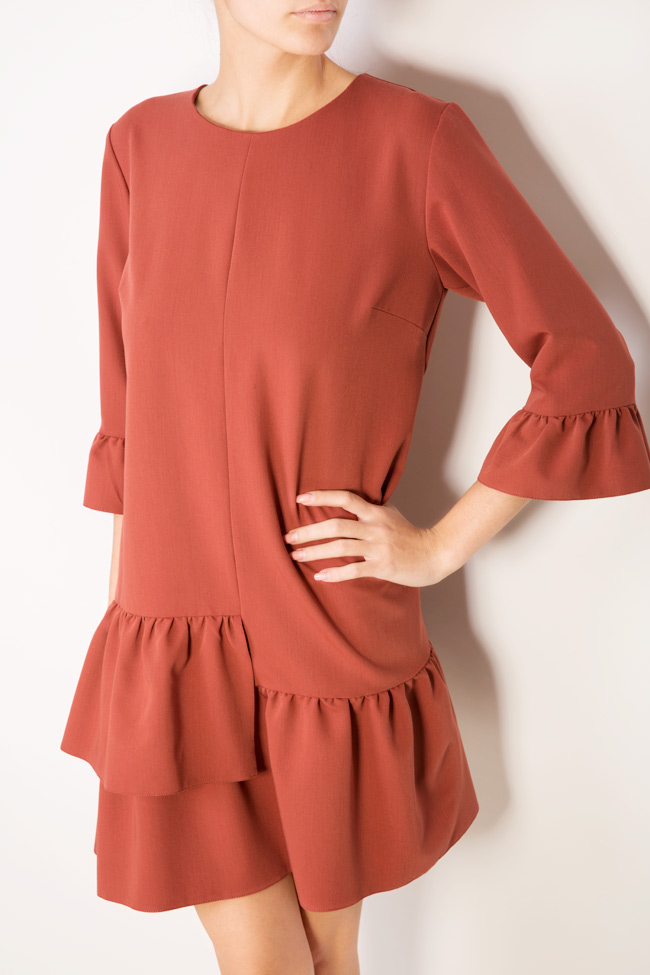 Asymmetric ruffled cotton mini dress Bluzat image 3