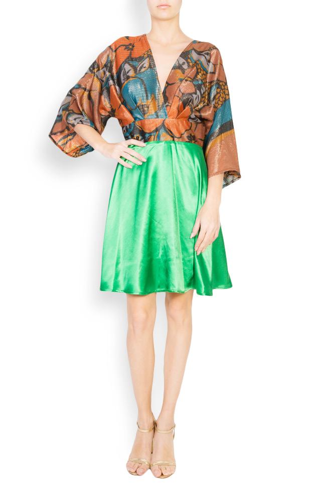 Printed silk-blend mini dress Andrei Spiridon image 0