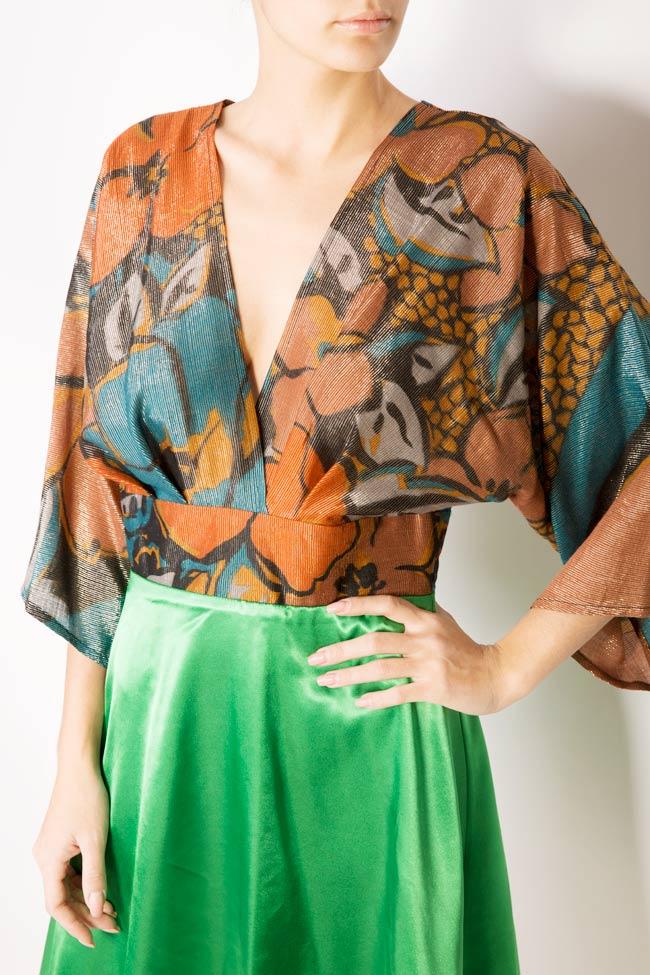 Printed silk-blend mini dress Andrei Spiridon image 3