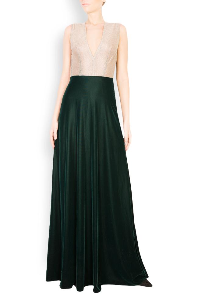 Two-tone silk-blend velvet lame maxi dress Andrei Spiridon image 0
