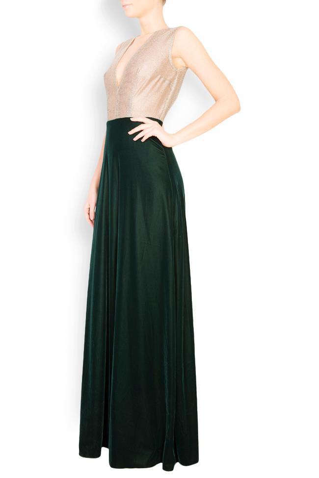 Two-tone silk-blend velvet lame maxi dress Andrei Spiridon image 1