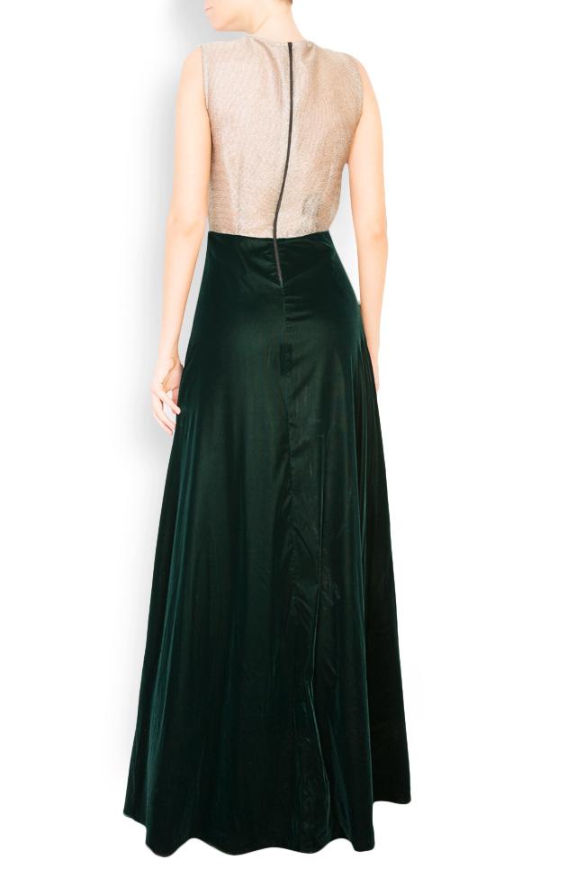 Two-tone silk-blend velvet lame maxi dress Andrei Spiridon image 2