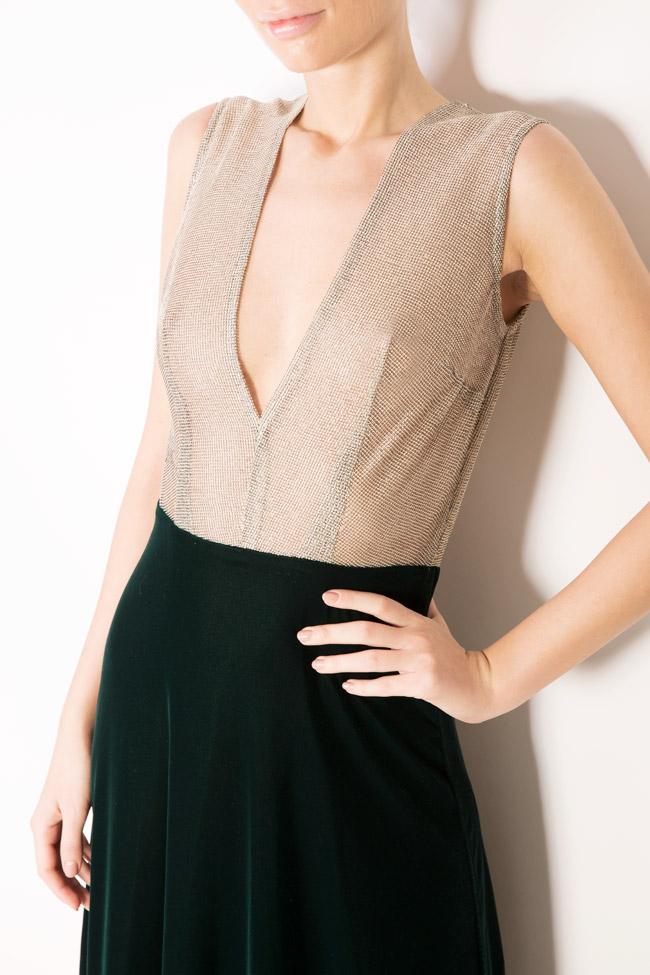 Two-tone silk-blend velvet lame maxi dress Andrei Spiridon image 3