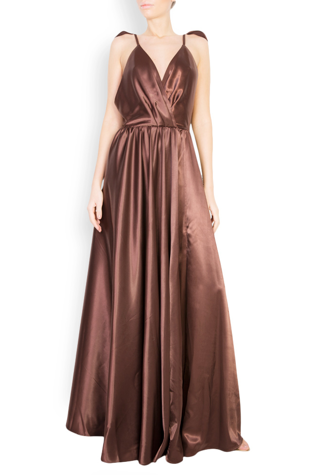 Silk satin maxi dress with cutout back Andrei Spiridon image 0