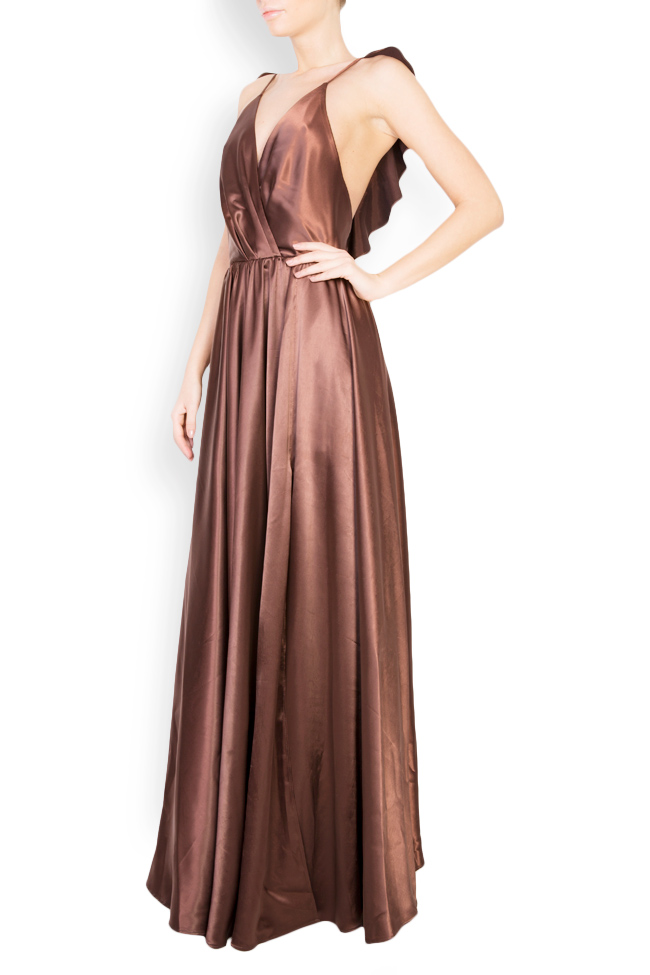 Silk satin maxi dress with cutout back Andrei Spiridon image 1