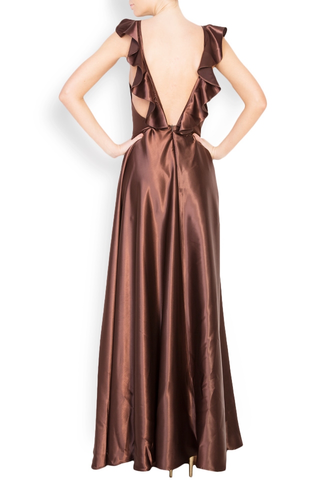Silk satin maxi dress with cutout back Andrei Spiridon image 2