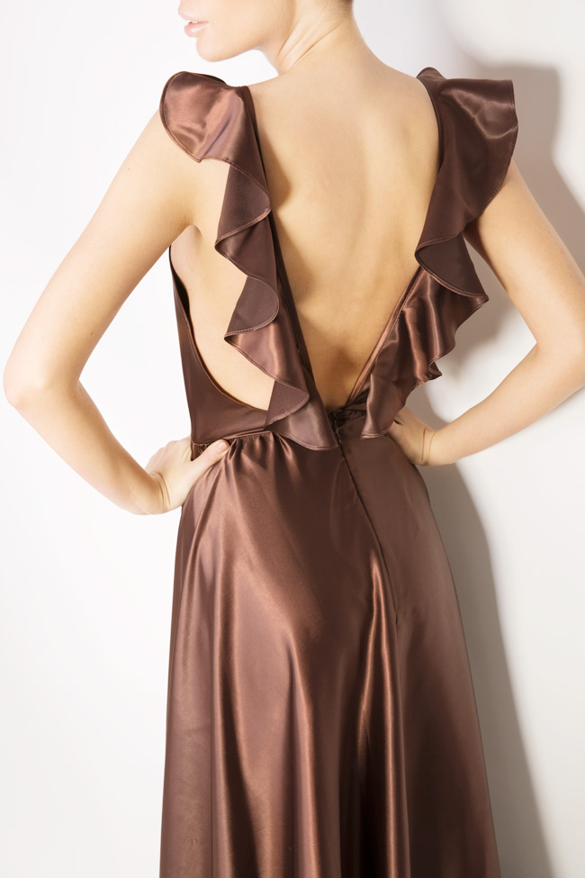 Silk satin maxi dress with cutout back Andrei Spiridon image 3
