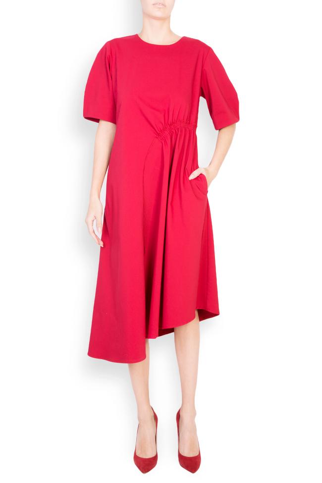 Asymmetric cotton crepe midi skirt Bluzat image 0