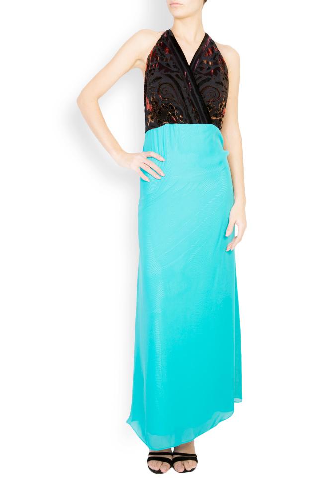 Silk-blend velvet printed maxi dress Andrei Spiridon image 0