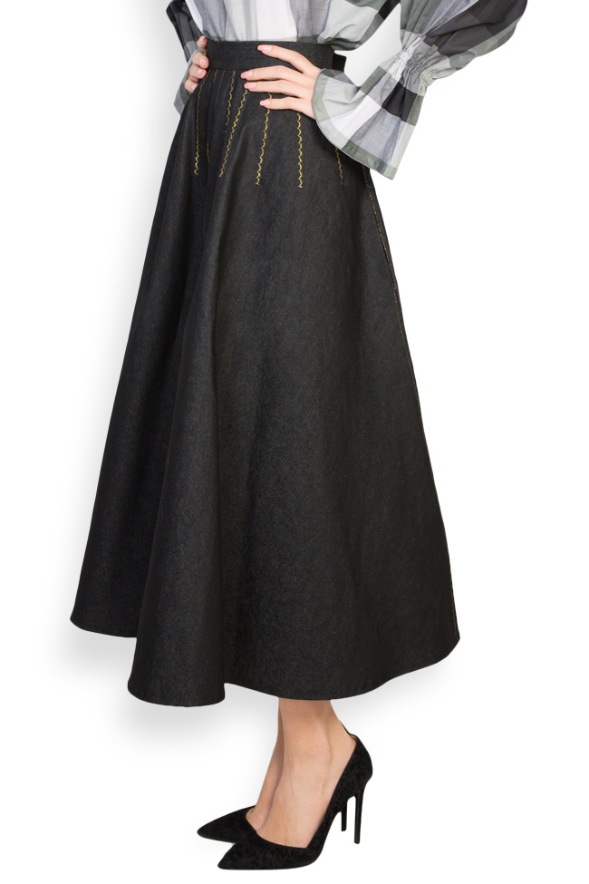 Retro embroidered denim midi skirt Nicoleta Obis image 1