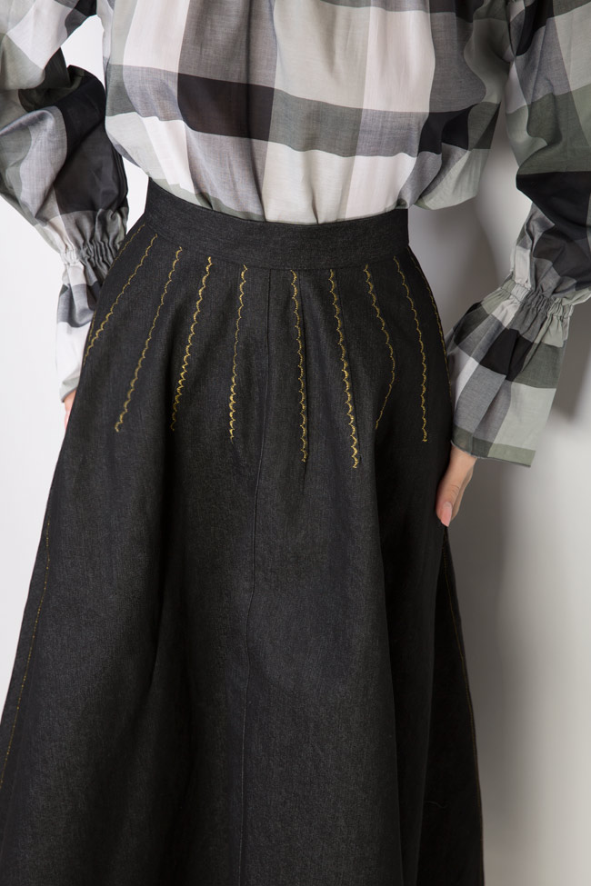 Retro embroidered denim midi skirt Nicoleta Obis image 3