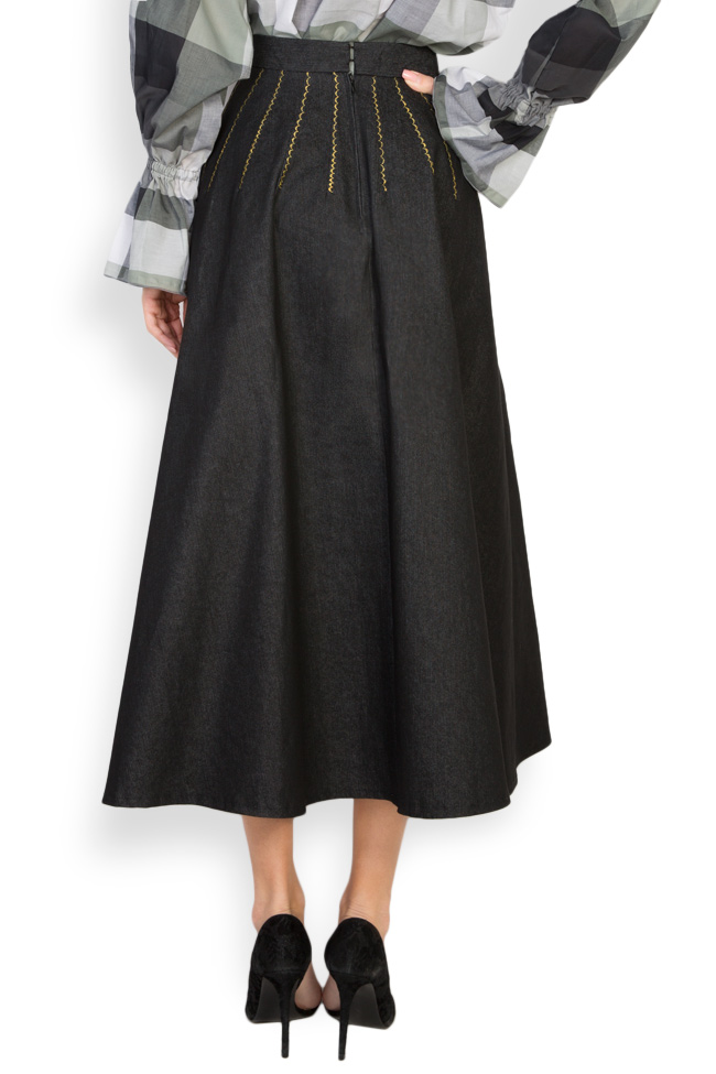Retro embroidered denim midi skirt Nicoleta Obis image 2