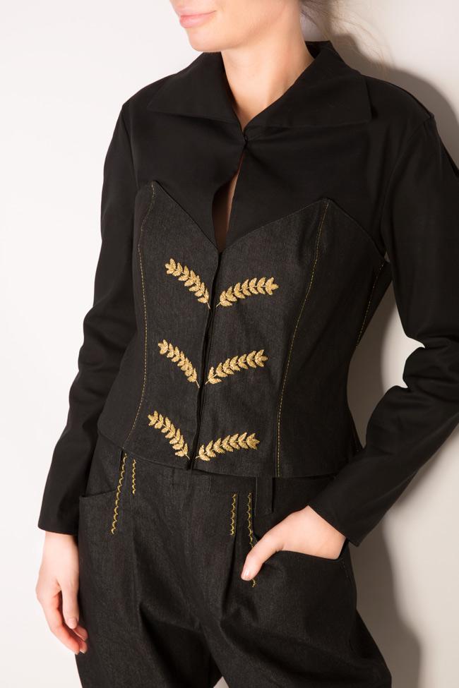 Embroidered cotton poplin denim shirt Nicoleta Obis image 3