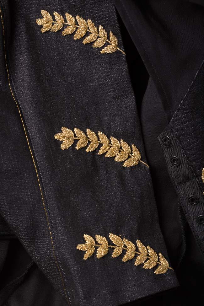 Embroidered cotton poplin denim shirt Nicoleta Obis image 4