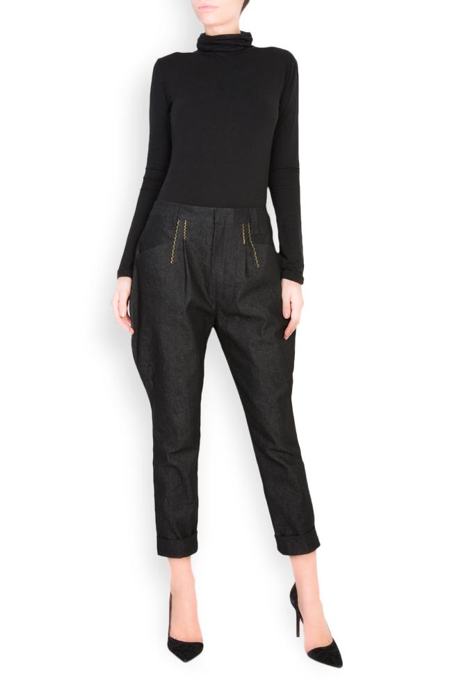 Pantaloni din denim cu broderie manuala Nicoleta Obis imagine 0