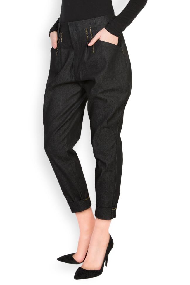 Pantaloni din denim cu broderie manuala Nicoleta Obis imagine 1