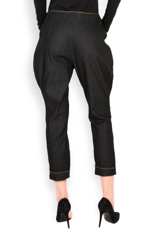 Pantaloni din denim cu broderie manuala Nicoleta Obis imagine 2