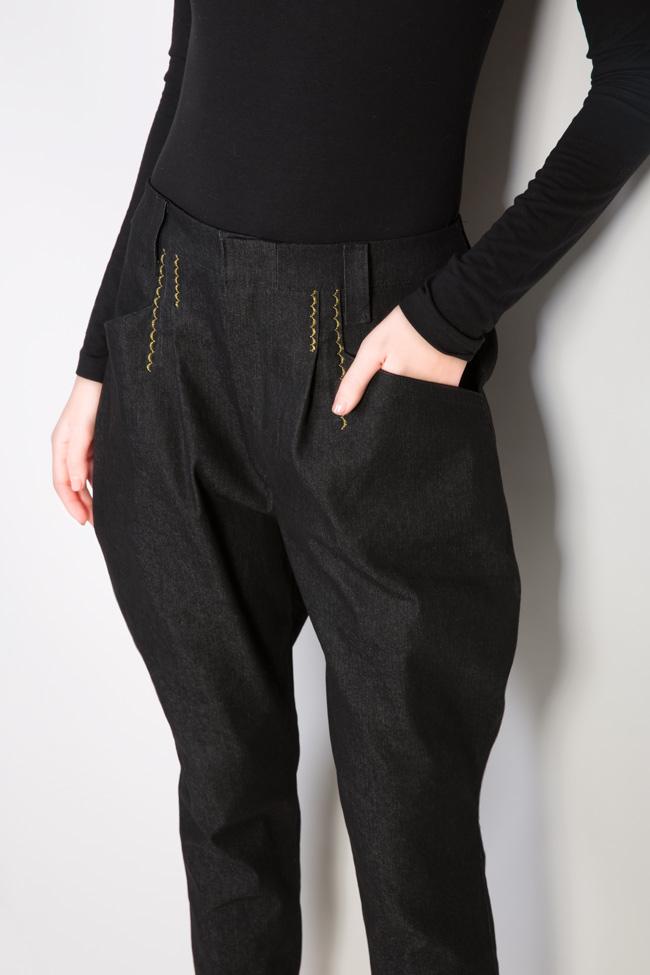 Pantaloni din denim cu broderie manuala Nicoleta Obis imagine 3