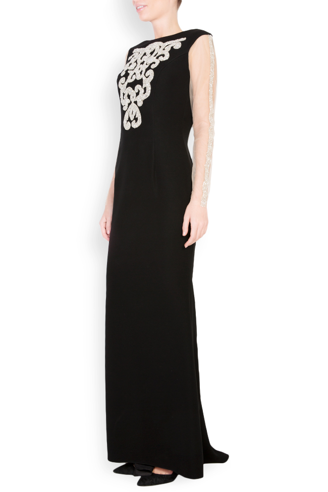 Embellished embroidered crepe gown Atelier Maria Iftimoaie image 1
