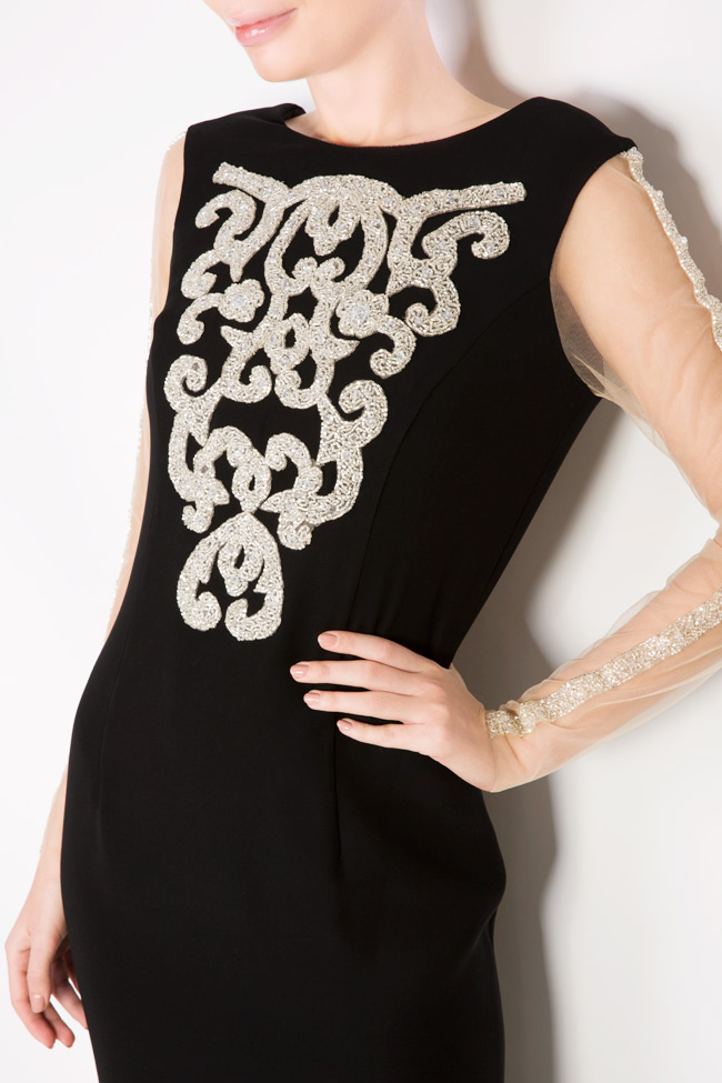 Embellished embroidered crepe gown Atelier Maria Iftimoaie image 3