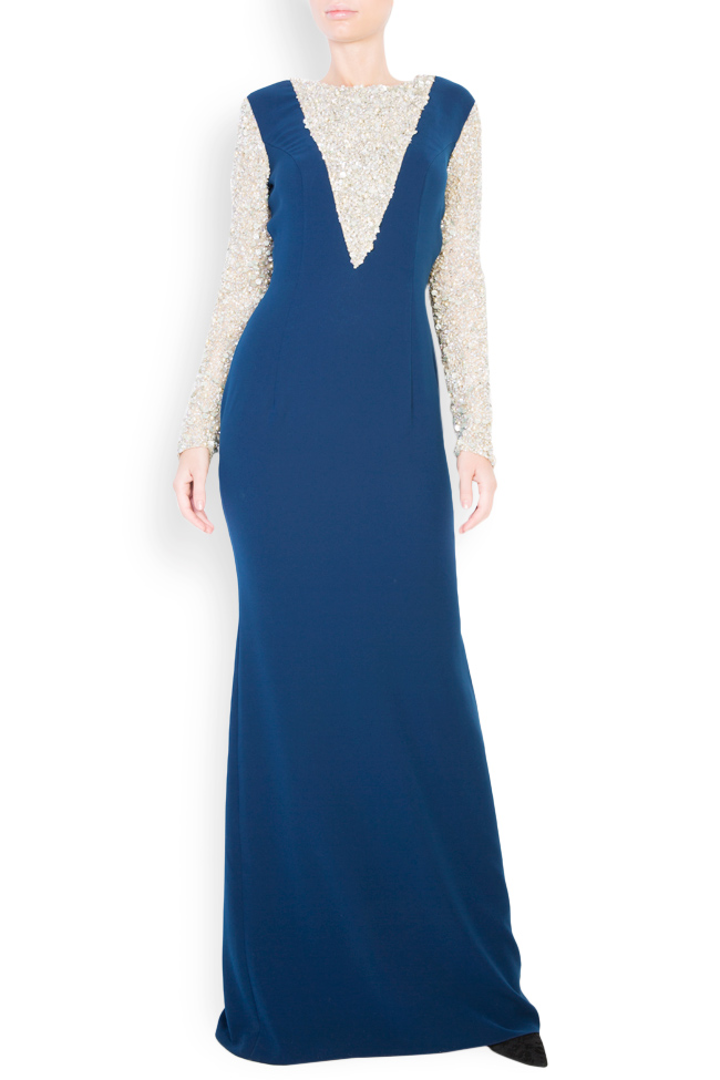 Sequinned embellished crepe maxi dress Atelier Maria Iftimoaie image 0