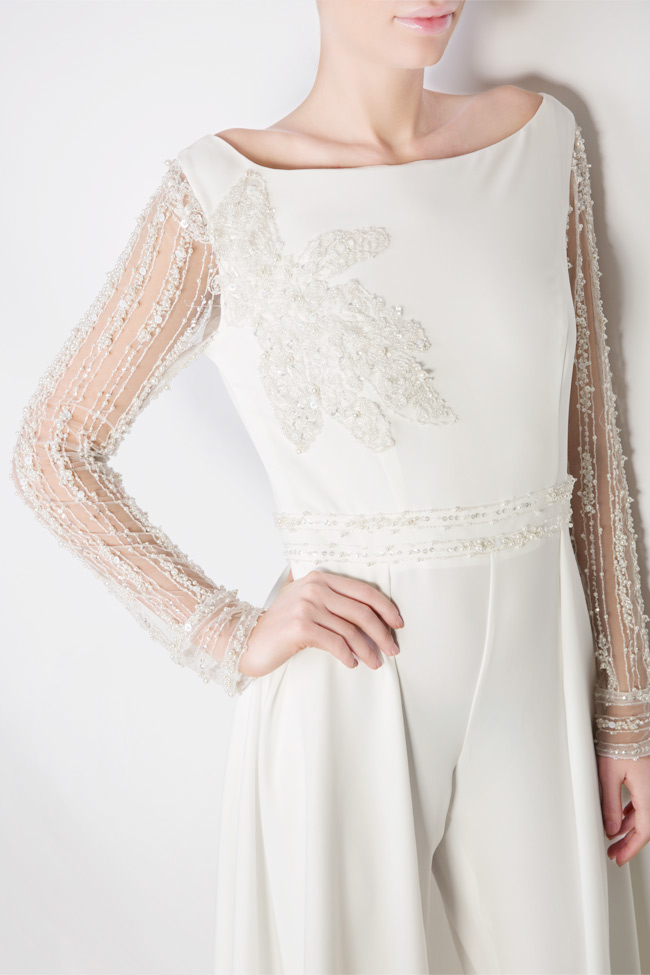 Handmade embellished crepe jumpsuit Atelier Maria Iftimoaie image 3