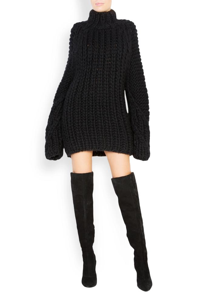 Rochie tip pulover din lana merino Dorin Negrau imagine 0