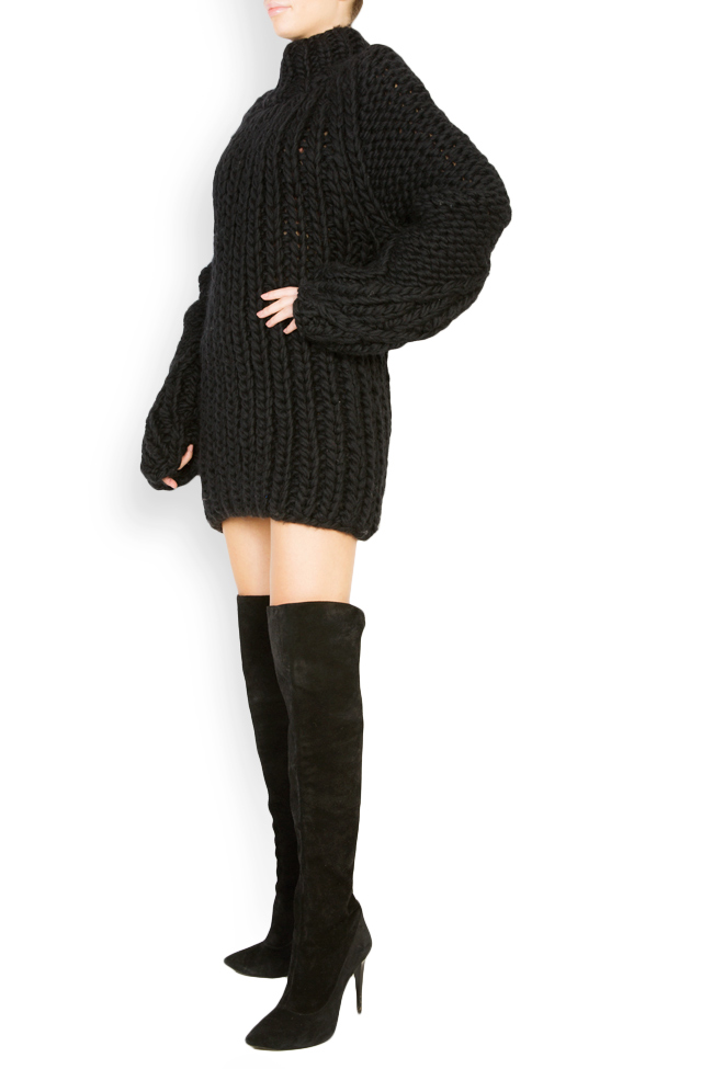 Rochie tip pulover din lana merino Dorin Negrau imagine 1