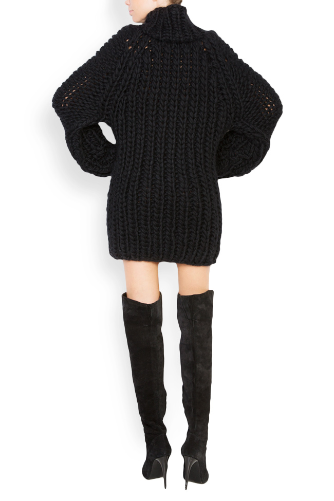 Rochie tip pulover din lana merino Dorin Negrau imagine 2