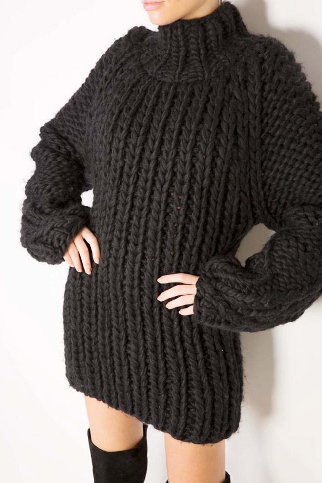 Rochie tip pulover din lana merino Dorin Negrau imagine 3