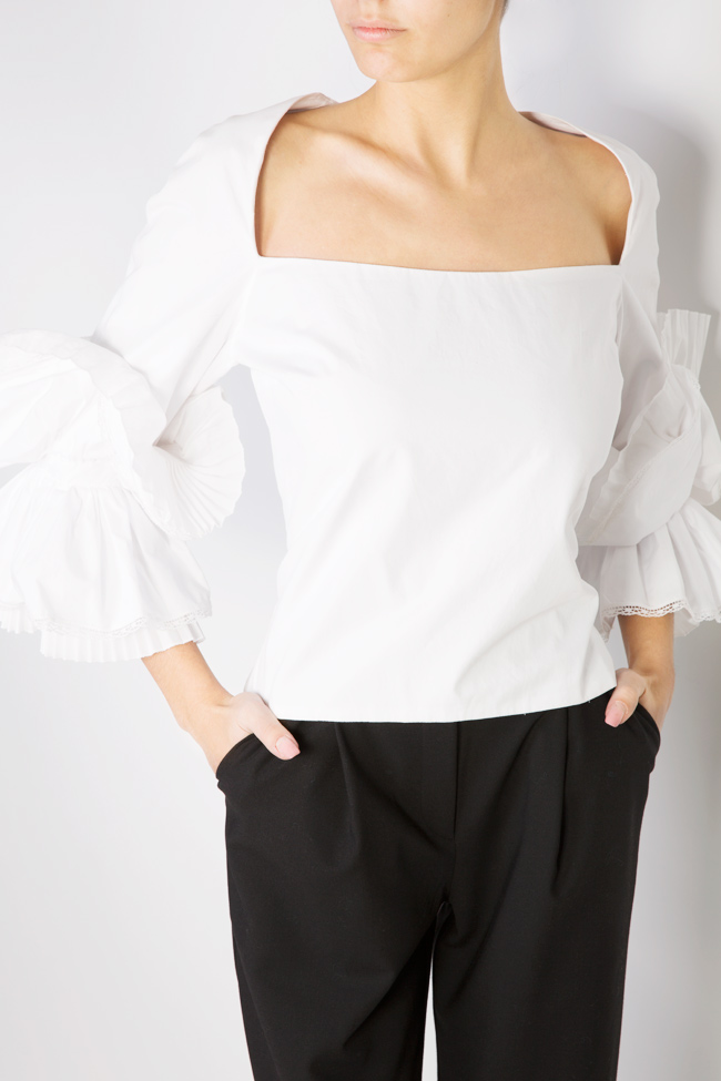 Embroidered ruffled cotton top Dorin Negrau image 3