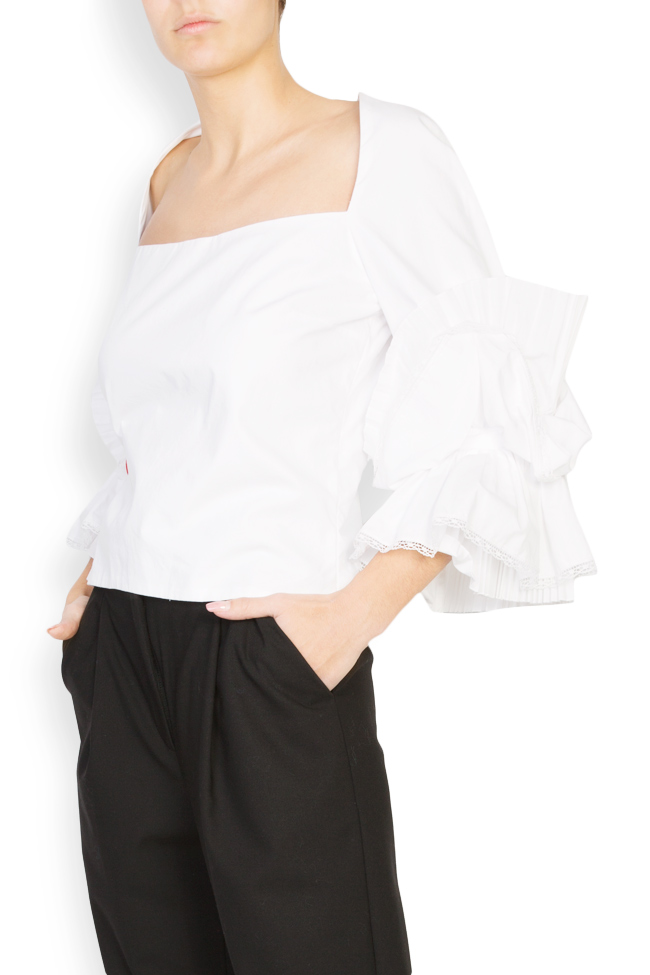Embroidered ruffled cotton top Dorin Negrau image 1