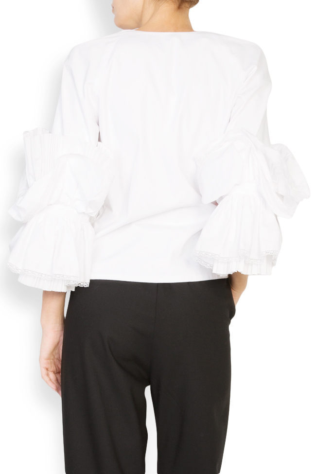 Embroidered ruffled cotton top Dorin Negrau image 2