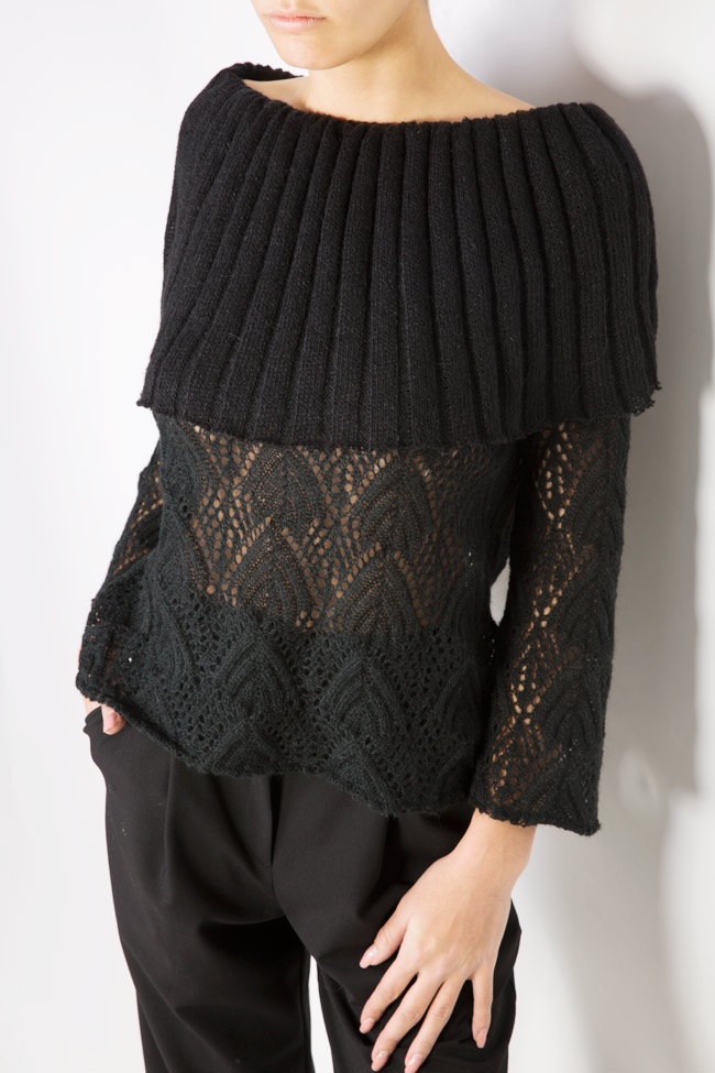 Off-the-shoulder cable-knit top Dorin Negrau image 3