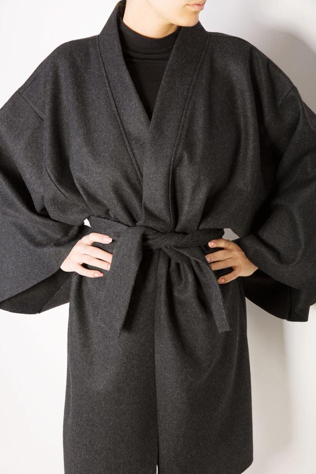 Manteau avec cordon en étoffe de laine Dorin Negrau image 3