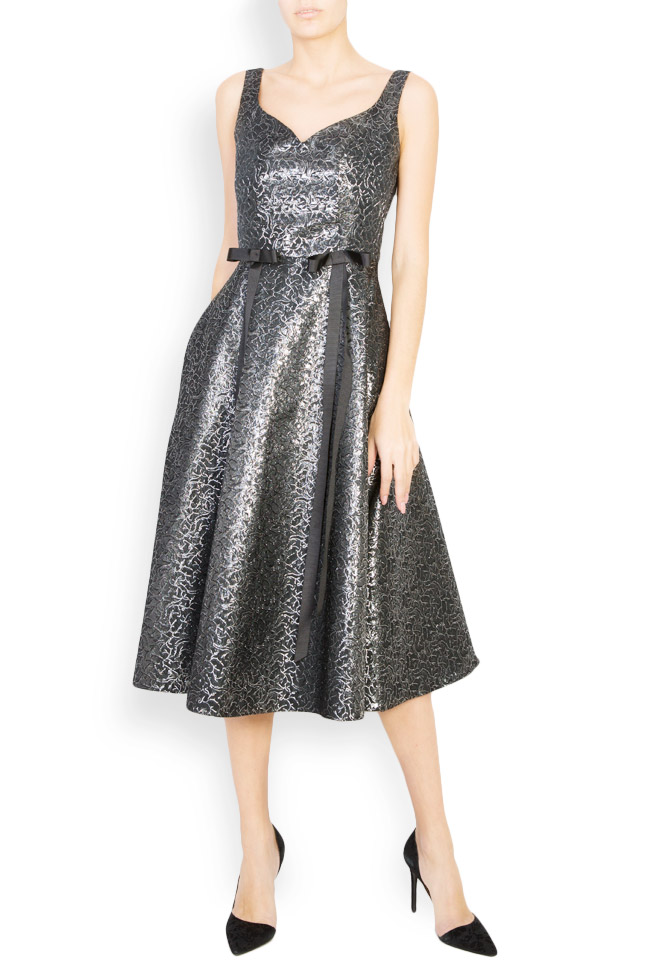 Anastasia bow-embellished printed jacquard midi dress Pulse  image 0