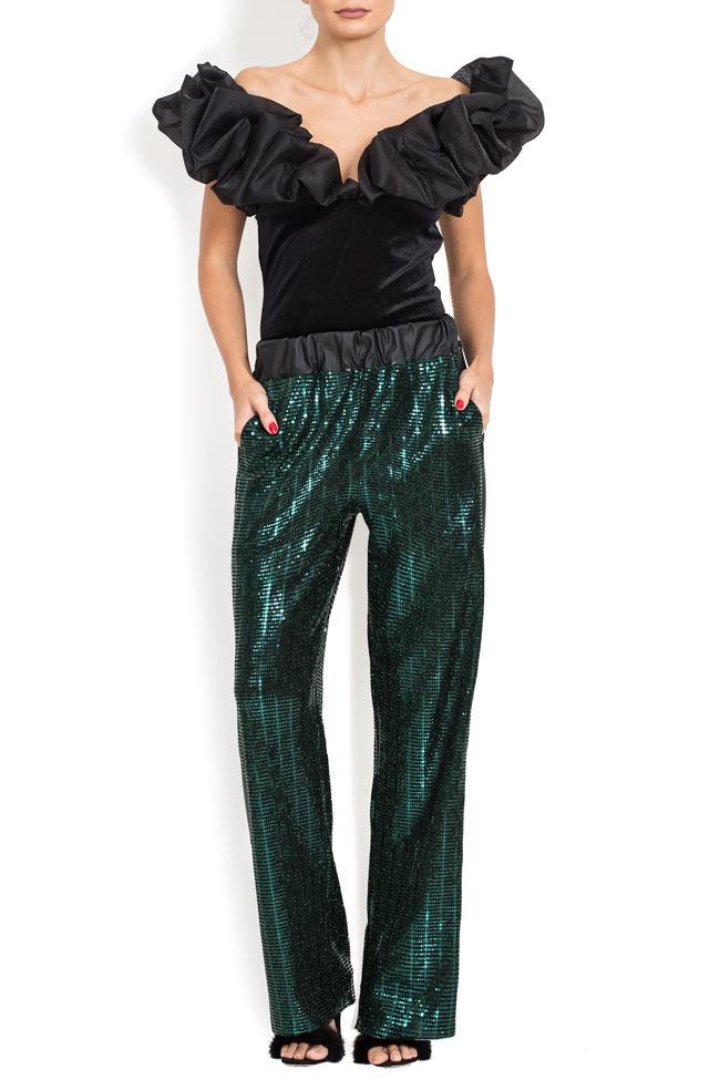 Pantaloni din paiete cu insertie din piele ecologica BADEN 11 imagine 0