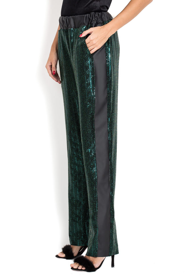 Pantaloni din paiete cu insertie din piele ecologica BADEN 11 imagine 1
