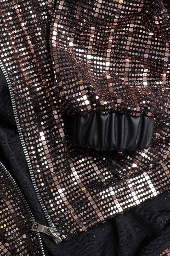 Jacheta din paiete cu fermoar si gluga BADEN 11 imagine 3