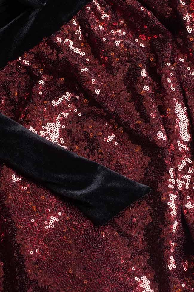 Rochie maxi din paiete cu panglici din catifea BADEN 11 imagine 3